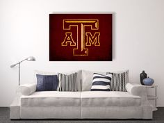 Texas A&M Aggies vintage style Canvas Print, vintage football decor, college football logos, apartment decorating ideas, Gig 'em, Aggies by DecorJay on Etsy