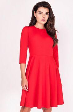 e1b0738000 Nommo NA205 sukienka czerwona - Sukienki rozkloszowane - Sukienki do pracy  i biura - Nommo sukienki - MODA DAMSKA - Sklep