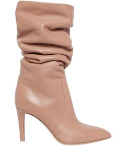 GIANVITO ROSSI - 85MM NAPPA LEATHER BOOTS - POWDER PINK