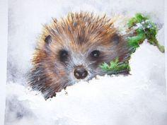 Hedgehog in winter - Watercolour