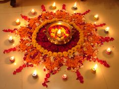 Rangoli - with flower petals and candles
