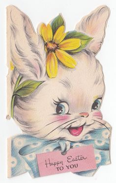 Vintage Greeting Card Easter Cute Bunny Rabbit Head Face Hallmark Die Cut 1940s | eBay