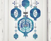 midcentury 50's modernist pomegranate judaic greek armenian lucky poster