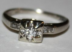 $450. Antique Diamond Ring Old Cut Diamond Ring by fairytaletreasures