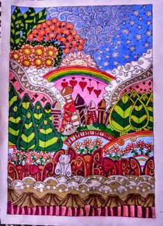 Coloured By Peta Hewitt With Inktense And Prismacolours Page From Legendary Landscapes Coloring Book Journey