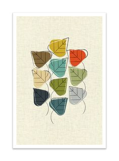 STILL IN LEAF  Giclee Print  Mid Century Modern Danish by Thedor, $24.00