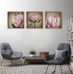 Protea Still - Square Art prints, set 1 Framed Canvas Prints, Canvas Frame, Wall Art Prints, Botanical Wall Art, Botanical Prints, Art Therapy Projects, Art Projects For Adults, Art Prints For Home, Square Art