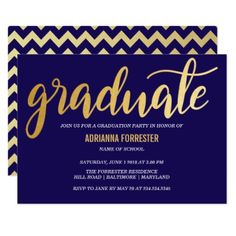 Modern Gold Graduate Typography Navy Blue Chevron Card - modern gifts cyo gift ideas personalize