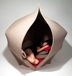 I want my own womb!    HUSH is a seating pod by Freyja Sewell that's designed to create a cozy and private space, much like a womb.   Random.. but I think I like it!