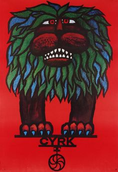 Lion on Circus  Polish cyrk poster  designer: Hubert Hilscher  year: 1967/1978