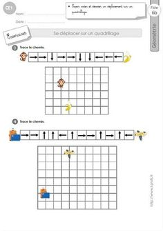 Déplacer sur un Quadrillage in Maze Puzzles, Cycle 2, Brain Gym, Coding For Kids, Disaster Preparedness, Golden Rule, Math Lessons, Worksheets, Activities