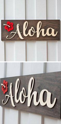 Aloha Sign #aloha #alohasign #sign #hawaii #hawaiisign #beach #ocean #decor #art