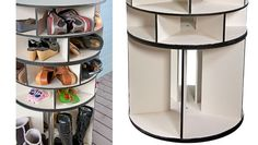 Shoe organizer, lazy susan - 6 cubbies per layer