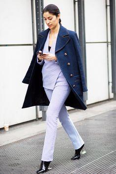 Caroline Issa in Dior suit with denim coat