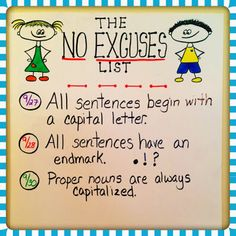 """""""No Excuses List"""" ~ A list of things there is no excuse to submit work without.  Could be adapted for any grade level.  (Free idea ~ I'm going to introduce this Monday!)"""