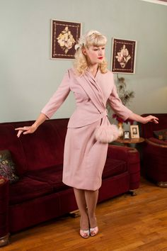 Wow. Pink linen, fox trim. 40's elements, early 50's ?Vintage 1950s Suit  Phenomental Powder Pink Lilli Ann by FabGabs