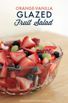 This refreshingly sweet Orange-Vanilla Glazed Fruit Salad is literally heaven on a plate! Use in-season produce to make it a frugal side dish for your family or as a special treat for company. It`s so good you won`t be able to stay out of it!