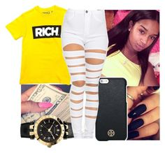 """""""Rich✨"""" by aribearie ❤ liked on Polyvore featuring Tory Burch and Versace"""