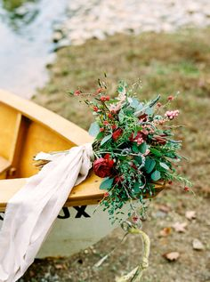 The colors in this for an October wedding are beautiful! Bright reds, pinks, and greenery // Photo by Ben Finch  #weddingbouquets #wedding #castletonfarms #weddingcolors #octoberwedding #fallwedding