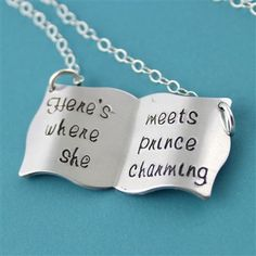 "Belle's Book Necklace - ""Here's where she meets prince charming"""