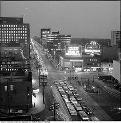 Yonge & Eglinton, looking east. Toronto, Canada, circa Photograph by Eric Trussler. Ontario, Yonge Street, Toronto Canada, Toronto City, Aerial View, Old Pictures, Gta, Street Photography, The Neighbourhood