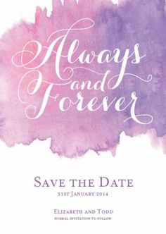 Always watercolour save the date a6 vertical in violet