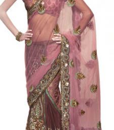 Buy Pink and maroon embroidered net saree with blouse party-wear-saree online