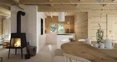 Drewniany minimalistyczny dom   Proj: Elementy   IH - Internity Home Wooden House, Tiny House, Kitchen Design, Dining Table, Furniture, Bali, Home Decor, Interiors, Ideas
