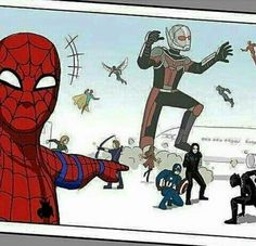 Spiderman Selfie! XD Hahaha!!! The funny thing is you can totally see this happening! / Captain America: Civil War!!! - visit to grab an unforgettable cool 3D Super Hero T-Shirt!