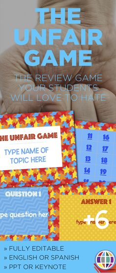 Game Template: The Unfair Game editable Powerpoint and instructions Youth Group Games, Class Games, School Games, Student Games, Youth Groups, Family Games, Future Classroom, School Classroom, Classroom Activities