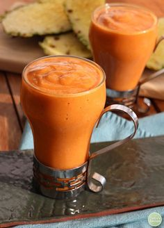 Sweet potato, cinnamon & mango smoothie from Superfoods 24/7 - Get the recipe and enter to win a copy of the cookbook | cadryskitchen.com #vegan #glutenfree