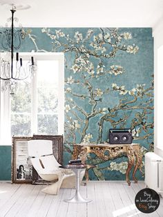 Cherry blossom wallpaper Vintage painting Painted by loveCOLORAY