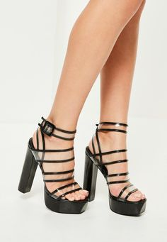 Missguided - Black Clear Strap Heeled Platforms