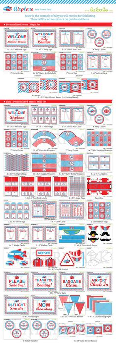 Airplane party printables Planes Birthday, Planes Party, Boy First Birthday, 6th Birthday Parties, Birthday Ideas, Airplane Baby Shower, Baby Boy Shower, Vintage Airplane Party, Travel Baby Showers
