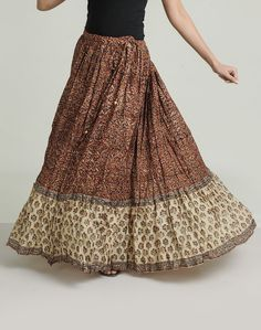 Cotton Mull Kalamkari Ghera Border Long Skirt