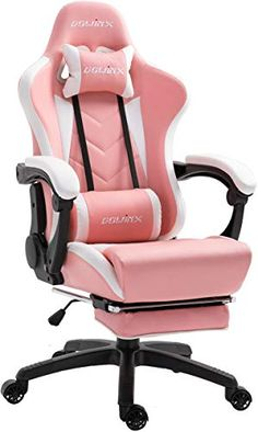 Buy Dowinx Gaming Chair Ergonomic Racing Style Recliner Massage Lumbar Support, Office Armchair Computer PU Leather E-Sports Gamer Chairs Retractable Footrest (White&Pink) online – Liketopclothing - Sala de juegos Ideas Girl Bedroom Designs, Room Ideas Bedroom, Girls Bedroom, Bedrooms, Bedroom Decor, Gamer Chair, E Sports, Gaming Room Setup, Pc Setup