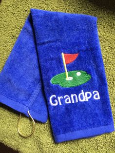 Embroidered golf towel  by LindaKaysCreations on Etsy
