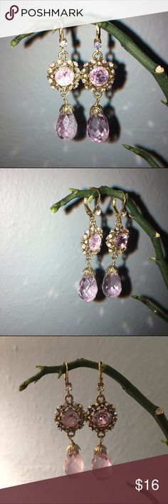 Juicy Couture pink gold detailed earrings Juicy Couture pink earrings with gold detail. Pink teardrop Juicy Couture Jewelry Earrings