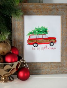 Use Christmas printables to decorate your home this holiday season. This Tree Time Free Christmas Printable will remind you of classic Christmases past, with a beautifully hand-painted watercolor image of a station wagon and Christmas tree. Noel Christmas, Merry Little Christmas, Christmas Signs, Christmas Projects, Winter Christmas, Holiday Crafts, Vintage Christmas, Christmas Decorations, Holiday Decorating