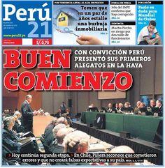 Primer día de alegatos. Perú - 03.12.12 (Perú 21 - Perú - 04.12.12). #LaHaya #Peru #Chile