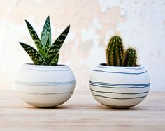 colorful porcelain planter light gray stripes. Ceramic by wapa