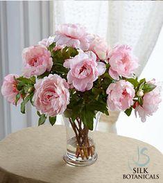 Jane Seymour Silk Botanicals Pink Peonies in Glass Vase