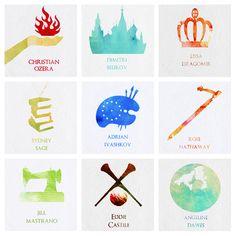 Vampire Academy/Bloodlines characters: Christian, Dimitri, Lissa, Sydney, Adrian, Rose, Jill, Eddie and Angeline