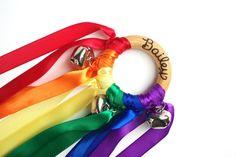 Waldorf Musical Hand Kite Toy ROYGBV Rainbow by IndieBambinoToys