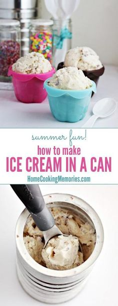 Summer fun idea for the kids: make homemade ice cream in a can! Not only will it keep them busy for a while, but they get a delicious treat too.