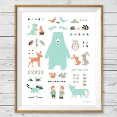 "Woodland Animal Poster Wall Art, Instant Download, 16x20"", Nursery Children Print"