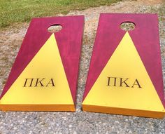 Pike (Pi Kappa Alpha) cornhole boards I made this summer! black background with gold glitter