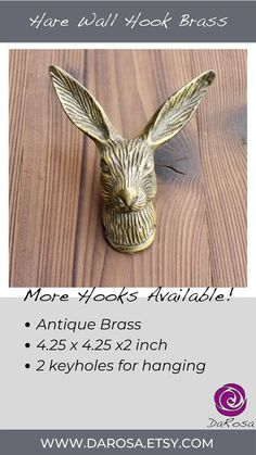 Hare Hook Rabbit Wall Hook in Antique Brass Woodland Decor image 8