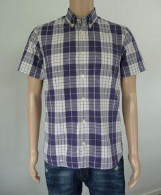 Men's Elwood Shirt Size Medium With Blue & White Check