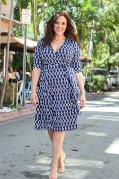 Kiyonna Womens Plus Size Essential Wrap Dress Trendy Plus Size Clothing, Plus Size Dresses, Plus Size Outfits, Dresses For Sale, Big Girl Fashion, Curvy Fashion, Plus Size Fashion, Ashley Graham, Shirred Dress